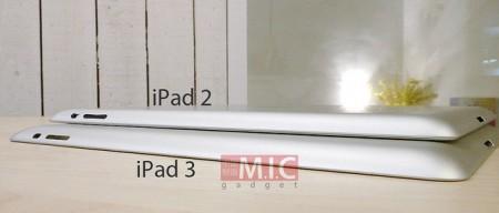 Fotografie srovnání velikostí iPad 2 a iPad 3 s uniklým casem z čínské továrny, foto: TechCrunch